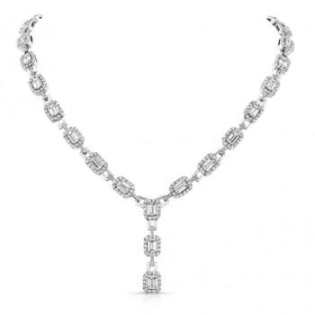 18K White Gold Emerald-Cut Diamond Pendant LVN529