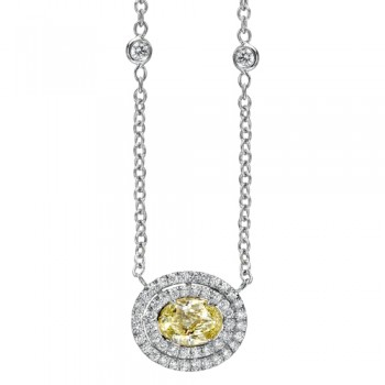 Natureal Collection Platinum Fancy Yellow Oval Diamond Pendant LVN552