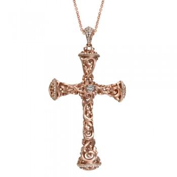 Uneek 18K Gold Round Diamond Cross Pendant LVN561