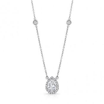 18K White Gold Pear Shaped Diamond Pendant LVN606