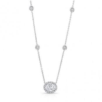 18K White Gold Oval Diamond Pendant LVN651