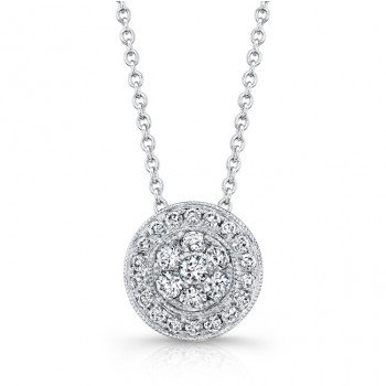 Bouquet Collection Diamond and 14K White Gold Round Cluster Pendant LVN657