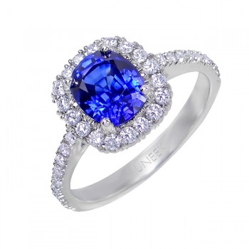 Uneek Blue Sapphire and Diamond Halo Engagement Ring in 18K White Gold
