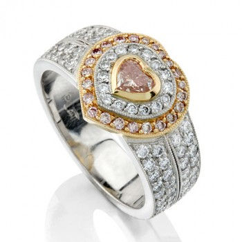 Uneek Natureal Platinum and Rose Gold Pink Heart Shaped Diamond Engagement Ring LVS200