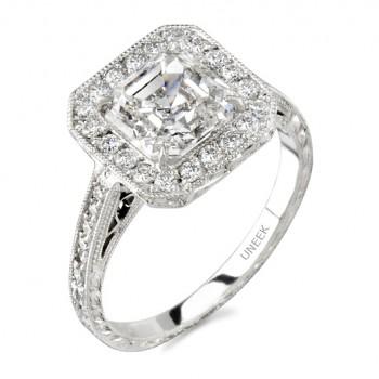 Uneek Platinum Halo Asscher Diamond Engagement Ring LVS299
