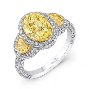Uneek Natureal Fancy Yellow Halo Oval Cut Diamond Engagement Ring LVS351