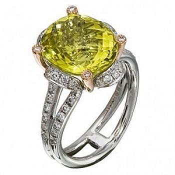 Stylish Zeghani Lemon Quartz and Diamond Fashion Ring