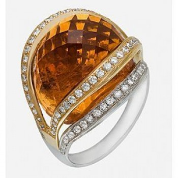 Alluring Citrine and Diamond Ring by Zeghani