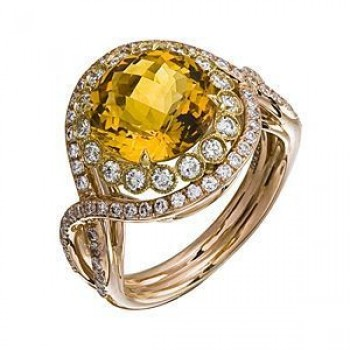 Stylish Zeghani Citrine and Diamond Two-tone Ring