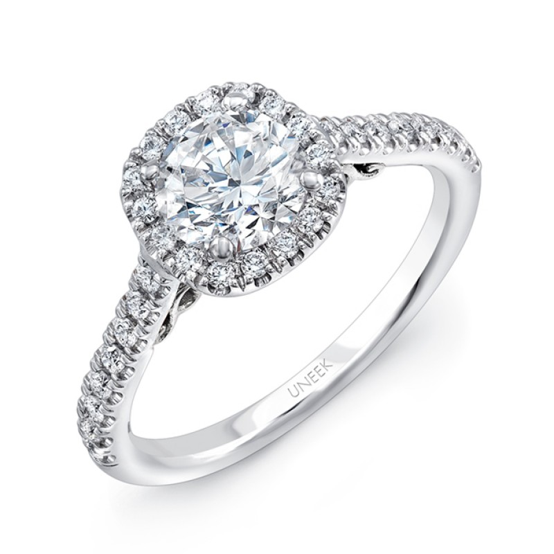 """Uneek """"Fiorire"""" Round Diamond Engagement Ring with Cushion-Shaped Halo, Pave Shank and Under-the-He"""