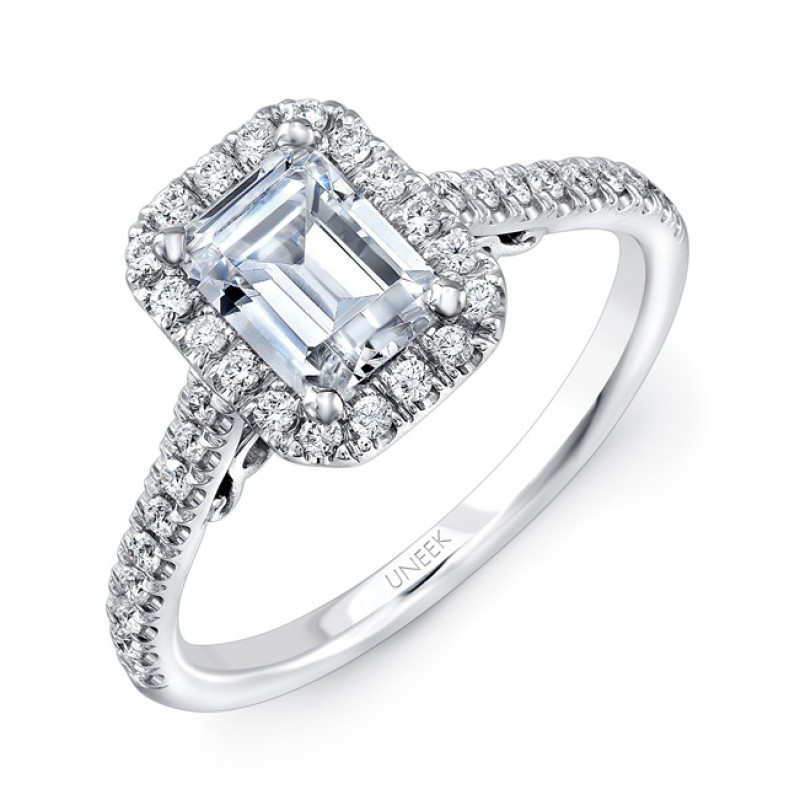 """Uneek """"Fiorire"""" Emerald-Cut Diamond Halo Engagement Ring with Pave Shank and Under-the-Head Filigree"""