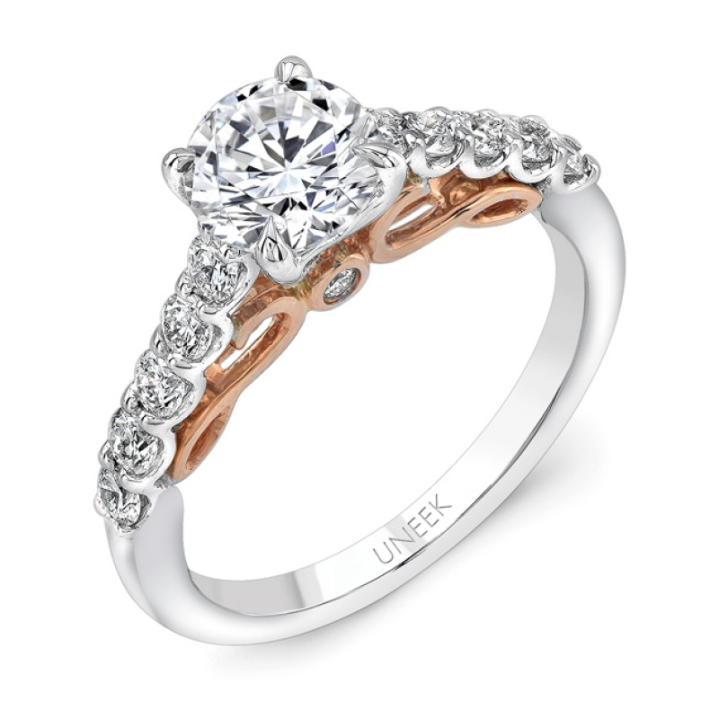 """Uneek """"Serpentina"""" Round Diamond Solitaire Engagement Ring with Shared-Prong Shank in 14K White Gold"""