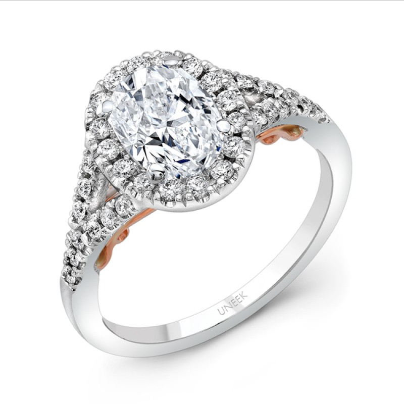 "Uneek ""Cancelli"" Oval Diamond Halo Engagement Ring with Pave Split Shank in 14K White Gold, and Unde"