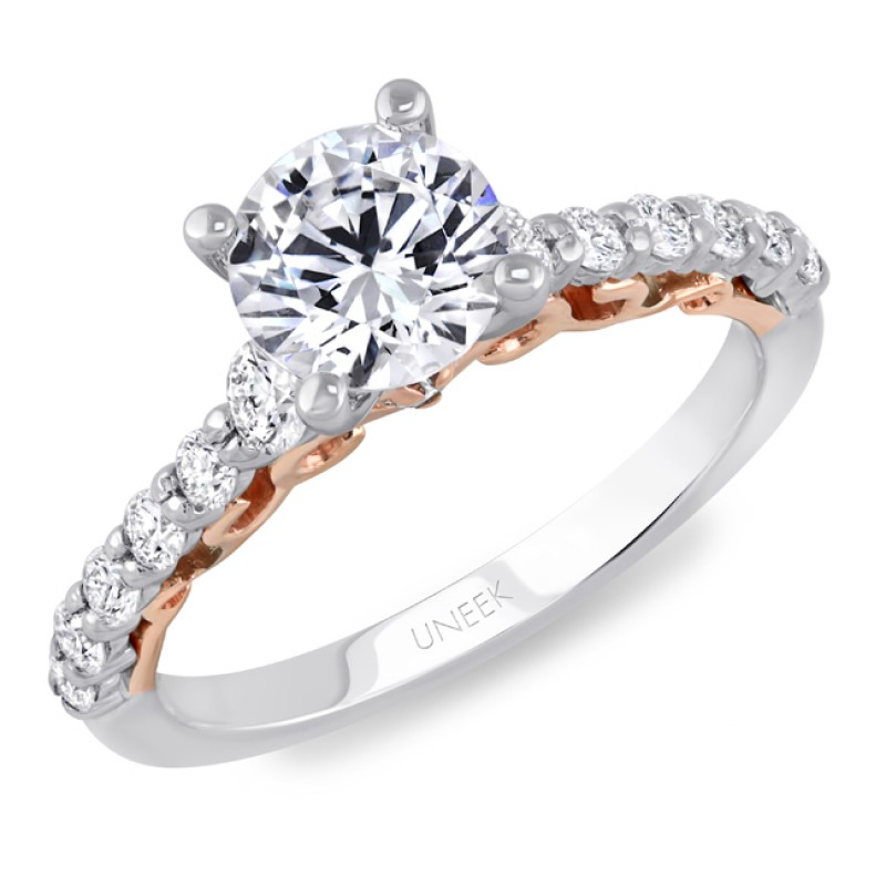 """Uneek """"La Vite Rampicante"""" Round Diamond Solitaire Engagement Ring with Shared-Prong Shank in 14K Wh"""