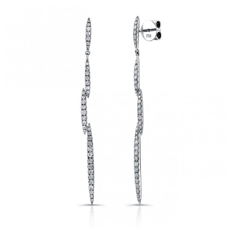 Uneek 18K White Gold and Diamond Dangle Earrings E238