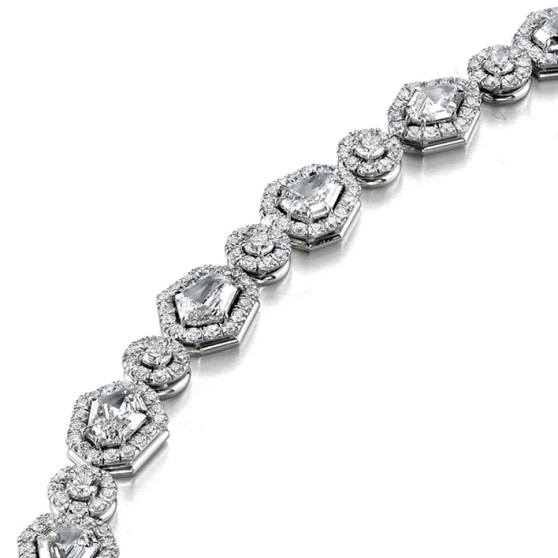 Platinum Round & Shield Diamond Bracelet LBR100