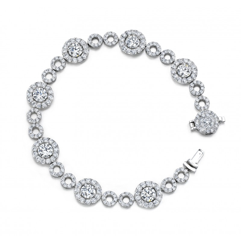 Uneek Round Diamond Bracelet with Micropave Halos and Circles, in Platinum