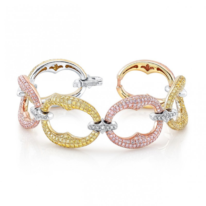 Natureal Collection 18K White, Yellow, and Rose Gold Fancy Yellow and Pink Diamond Bracelet LBR129