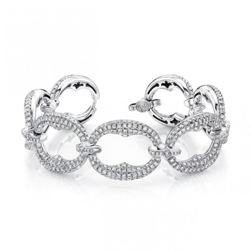 Uneek Pave Diamond Wide Link Bracelet in 18K White Gold