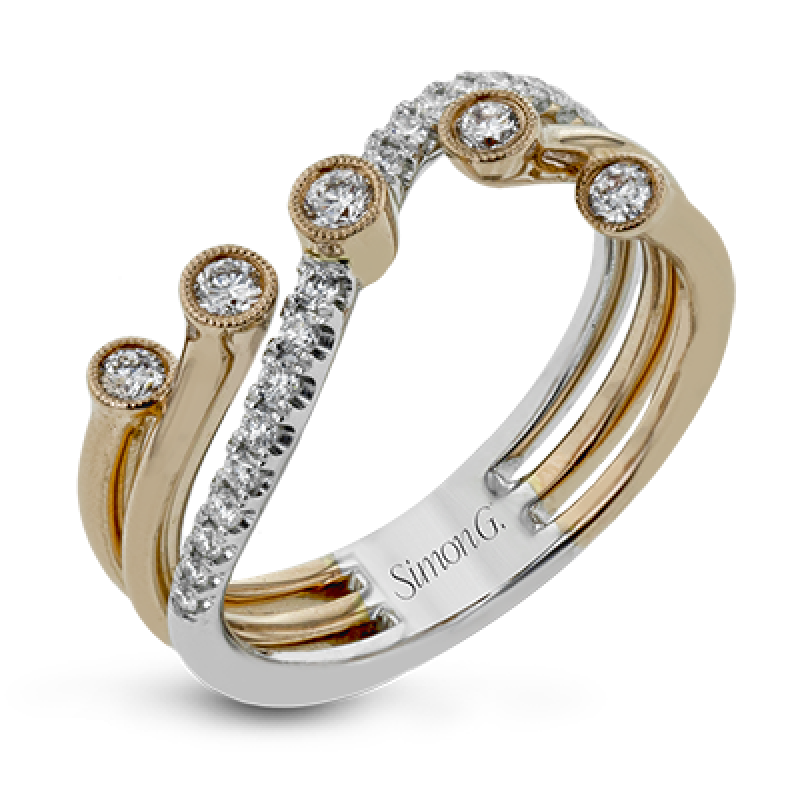 18K GOLD TWO TONE LR1191 RIGHT HAND RING