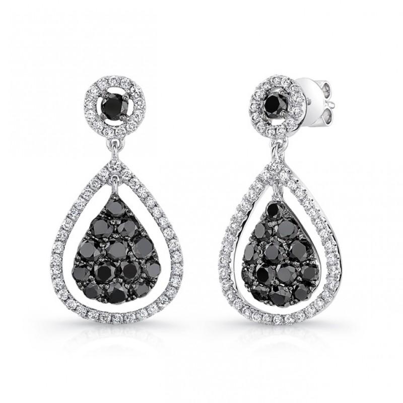 14K White Gold Black Pear Shaped Diamond Earrings LVE032BL