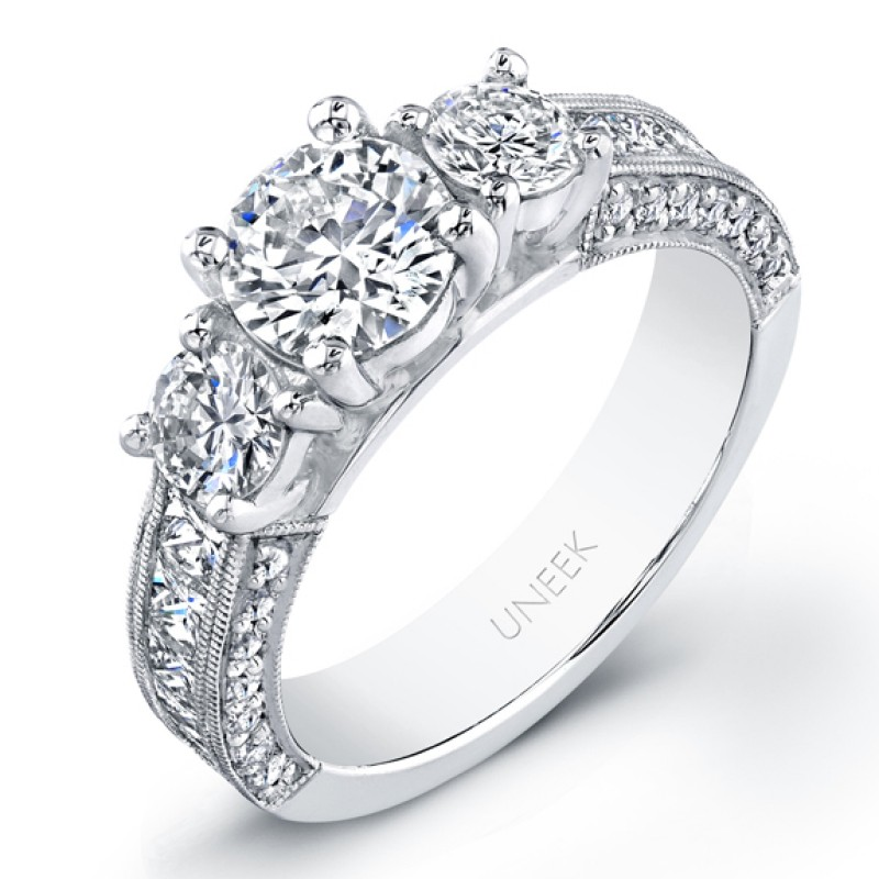 Bouquet Collection Three Stone Diamond Engagement Ring LVS709