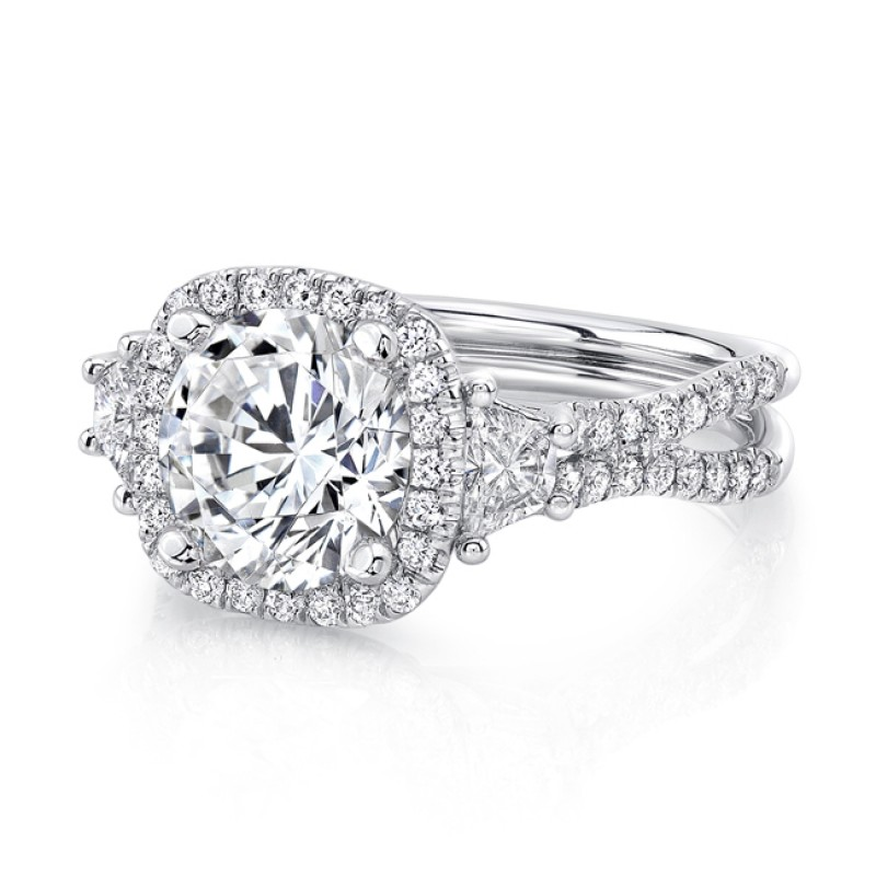 Uneek Three-Stone Engagement Ring with Round Center on Cushion-Shaped Halo and Pave Double Shank, in