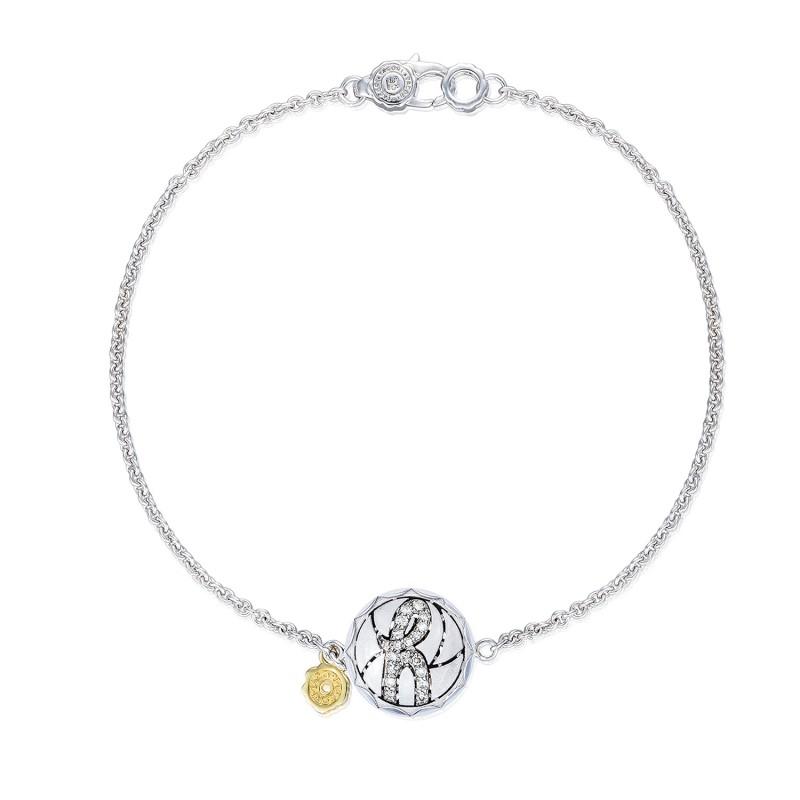 Pavé Monogram Chain Bracelet, Sandblasted sb196hsb