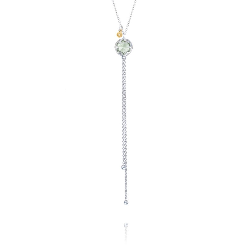 Petite Lariat Necklace featuring Prasiolite