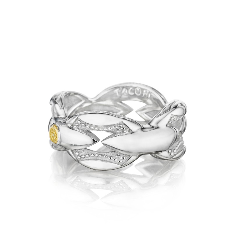 Bold Crescent Links Ring in Silver