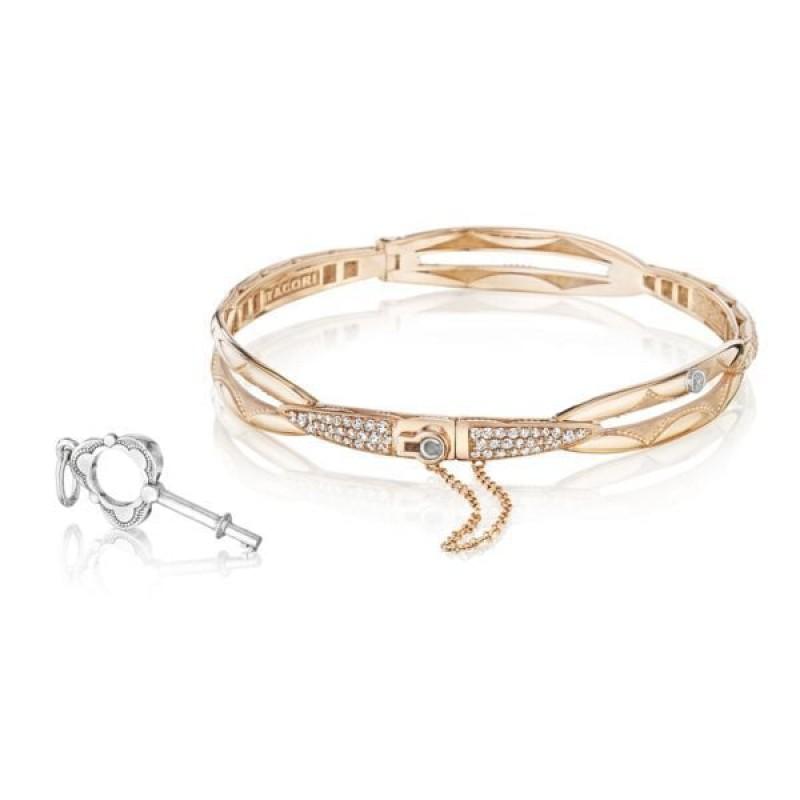 Promise Bracelet Round, Rose Gold with Pavé Diamonds SB188PS