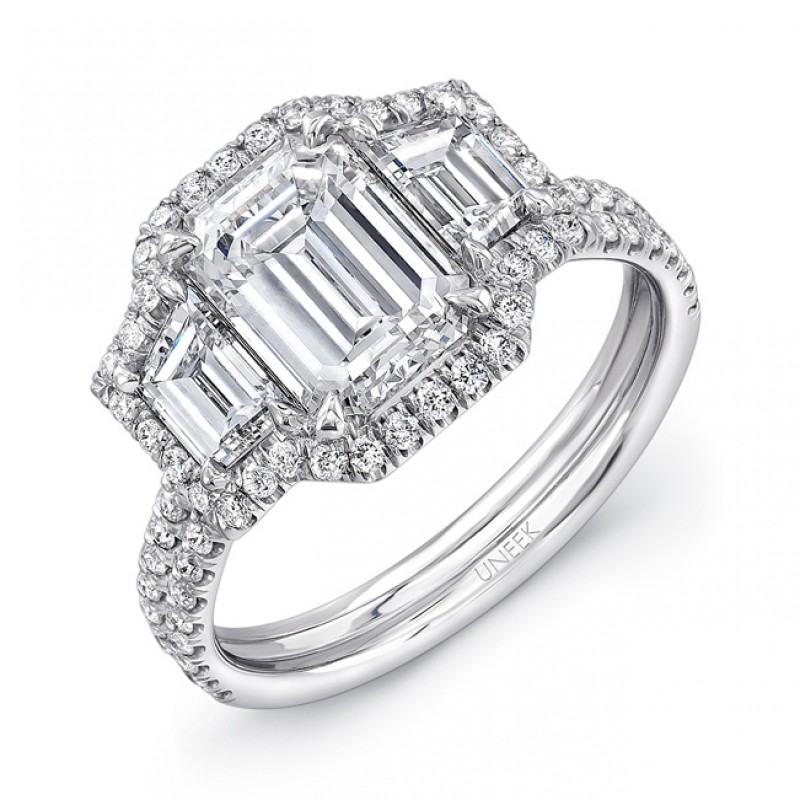 Uneek Three Stone Emerald Diamond Engagement Ring LVS894
