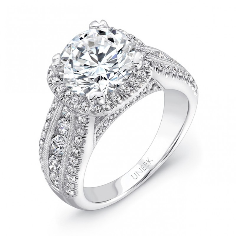 Unity Collection 14K White Gold and Cushion-cut Diamond Halo Semi-Mount - USM013CU-8.0MM