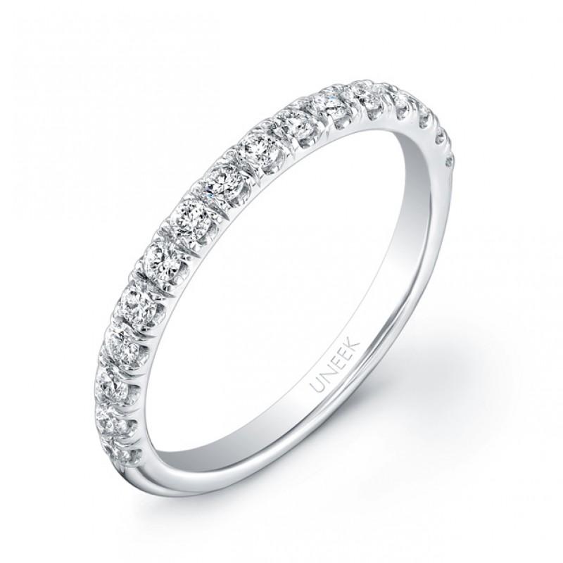 Uneek 16-Diamond U-Pave Wedding Band in 14K White Gold