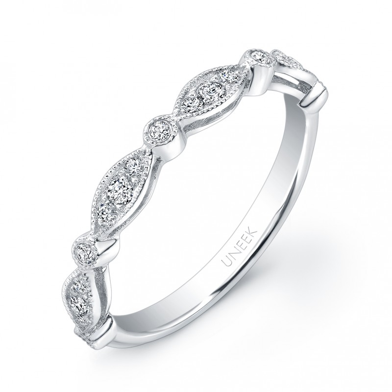 Uneek Art Nouveau-Inspired Diamond Wedding Band in 14K White Gold