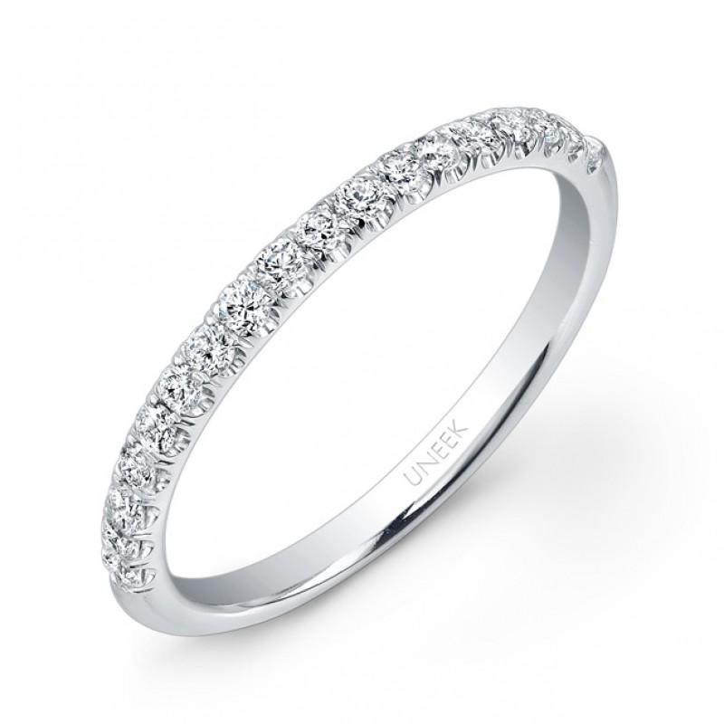 Uneek 18 Diamond Micropave Wedding Band In 14k White Gold