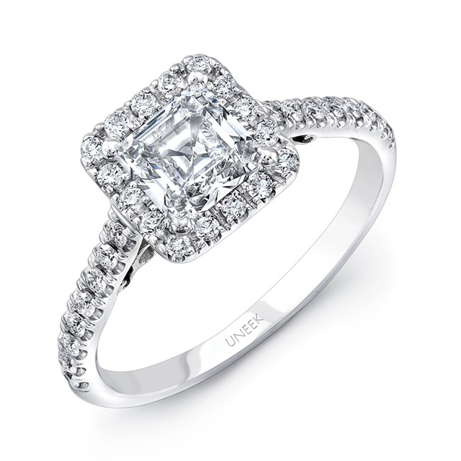 """Uneek """"Fiorire"""" Princess-Cut Diamond Engagement Ring with Squale Halo, Pave Shank and Under-the-Hea"""