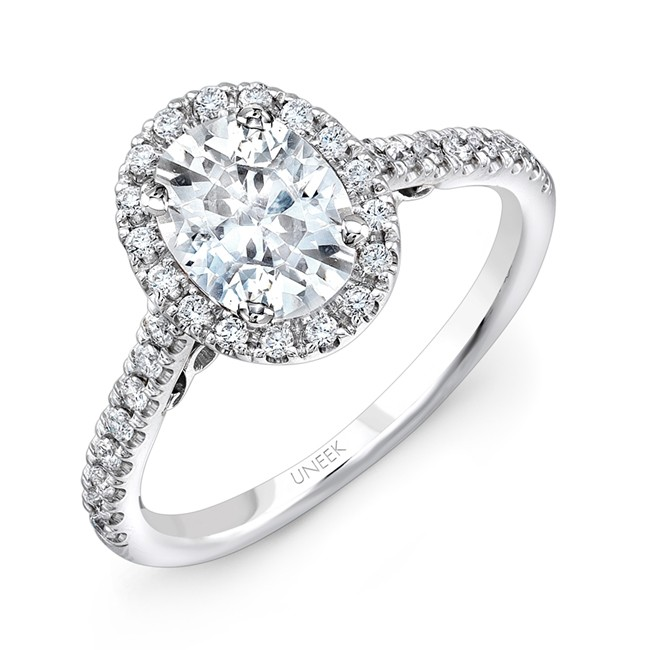 "Uneek ""Fiorire"" Oval Diamond Halo Engagement Ring with Pave Shank and Under-the-Head Filigree, in 14"