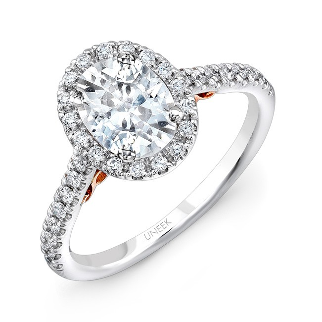"Uneek ""Fiorire"" Oval Diamond Halo Engagement Ring with Pave Shank in 14K White Gold, and Under-the-H"
