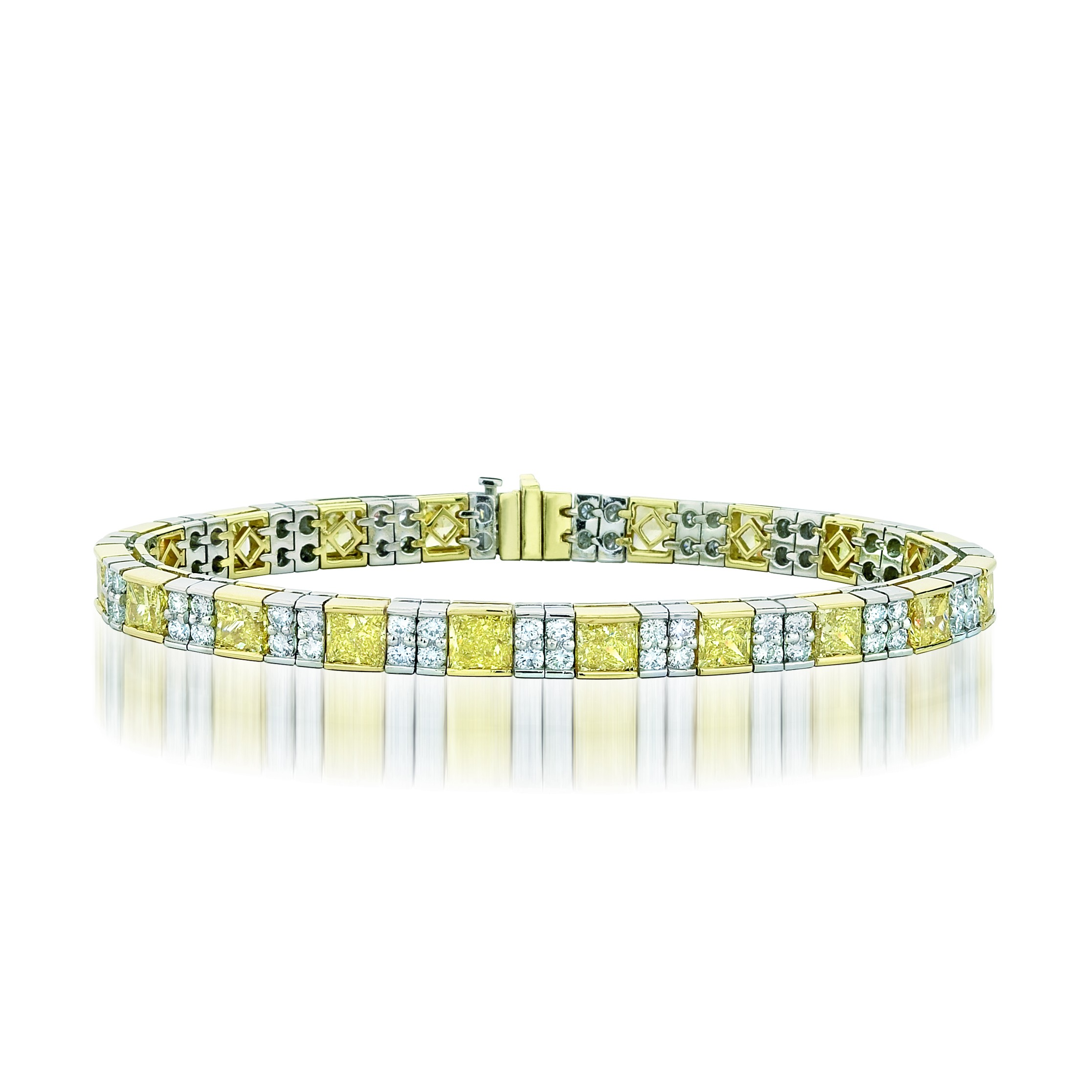 Natureal Collection Platinum Princess-Cut Fancy Yellow Diamond Bracelet LBR027
