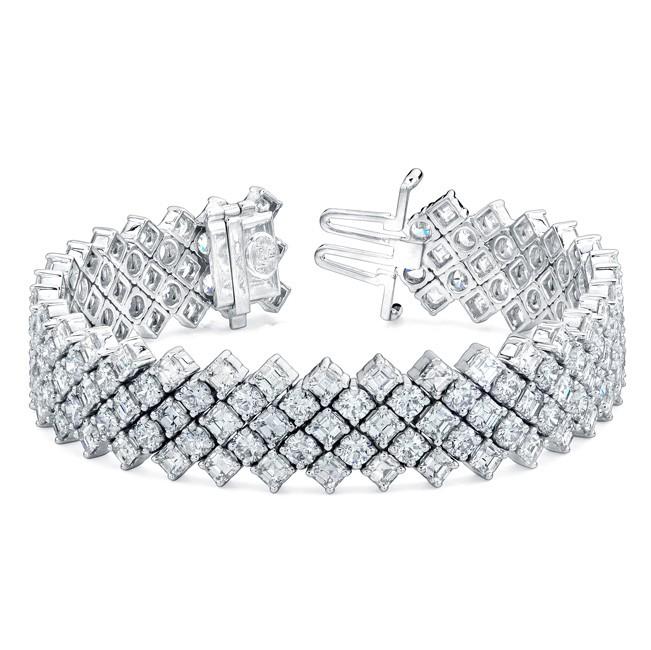 Uneek 5-Row Tilted Asscher Diamond Tennis Bracelet, in 18K White Gold