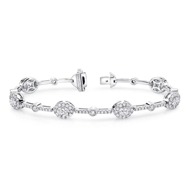Uneek Oval Diamond Bracelet, in 18K White Gold