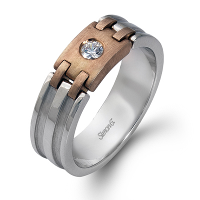 18K WHITE & ROSE GOLD, WITH WHITE DIAMONDS. LP2079 - MEN RING