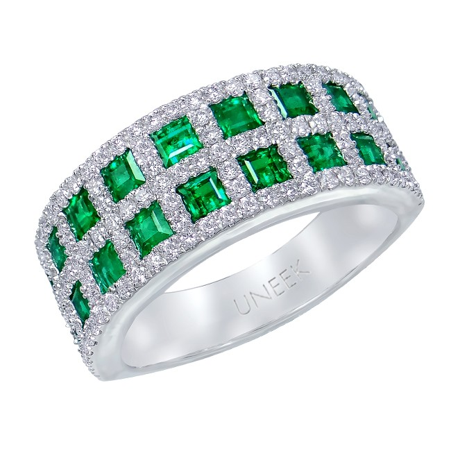 Uneek Princess-Cut Emerald and Pave Diamond Band in 14K White Gold