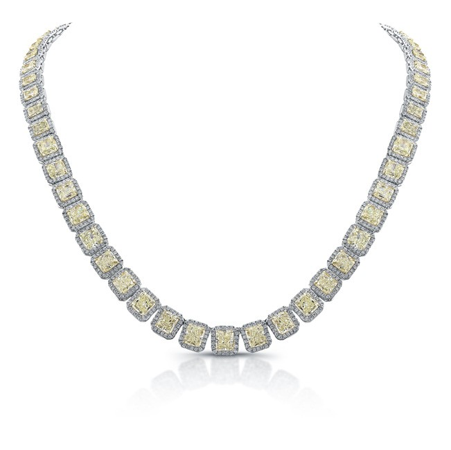 Natureal Collection 18K White Gold Yellow and White Diamond Necklace LVN590