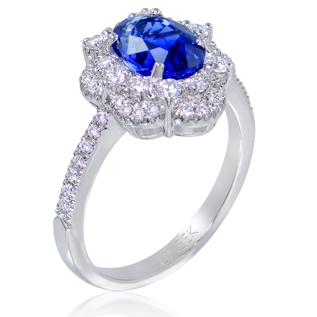 Uneek Oval Blue Sapphire Ring with Scalloped Diamond Double Halo and U-Pave Shoulders, in 14K White