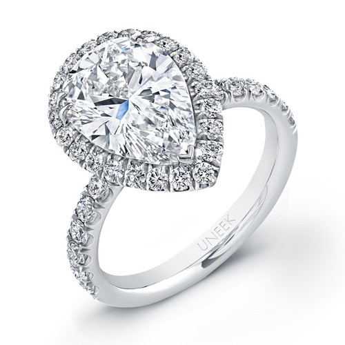 Uneek 4-Carat Pear-Shaped Diamond Halo Engagement Ring, in Platinum