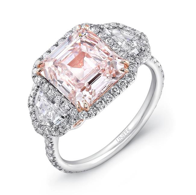 Uneek Natureal Platinum Fancy Pink Emerald Cut Diamond Engagement Ring LVS881