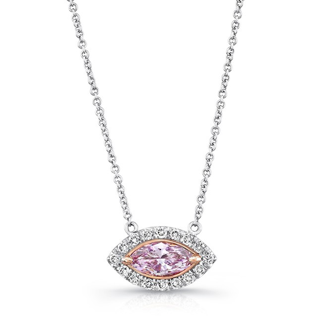 Natureal Collection 18K White Gold Marquise-Cut Fancy Purple Pink Necklace NEK113