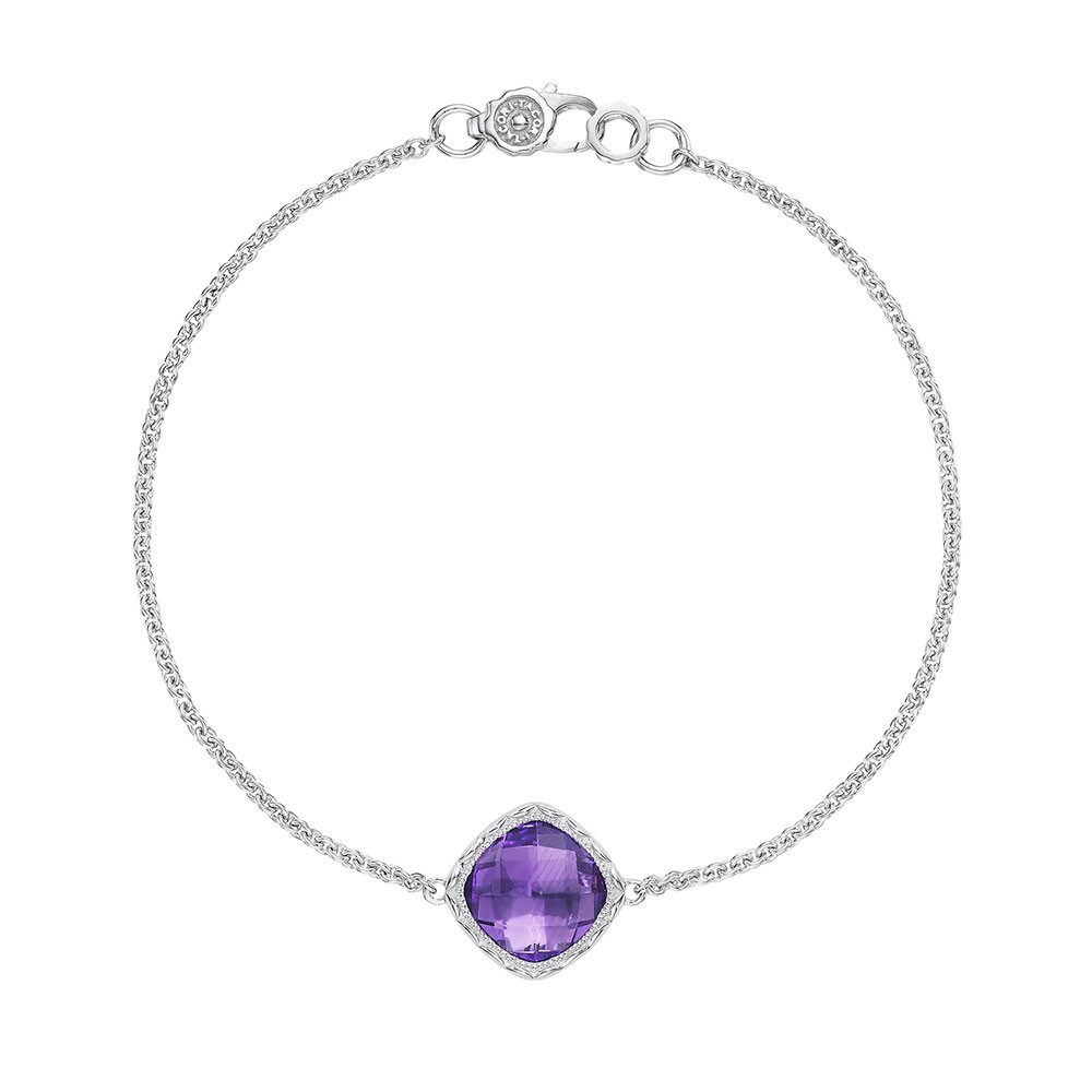 Solitaire Cushion Gem Bracelet with Amethyst